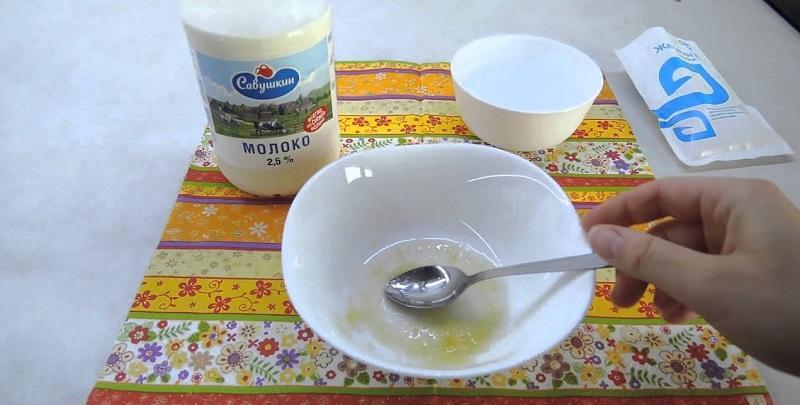 Приготовление маски на молоке