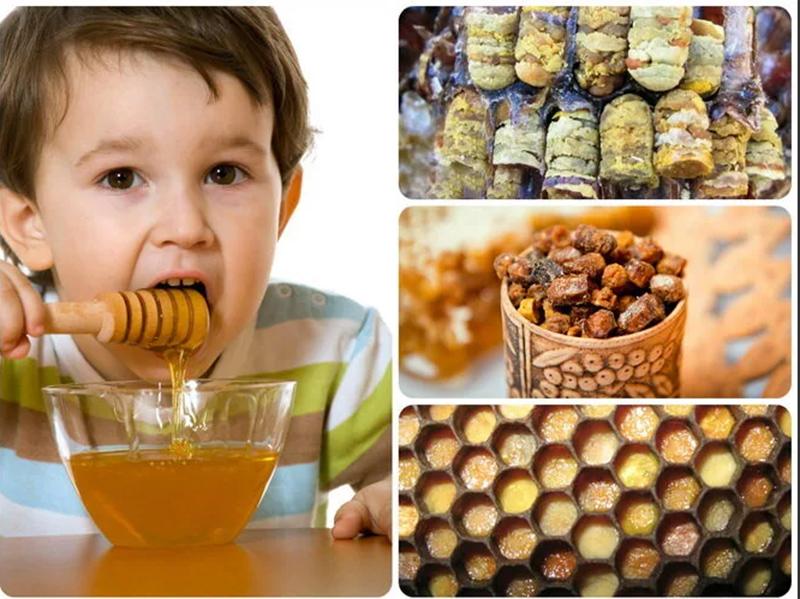 Ребенок ест продукты пчеловодства
