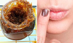 скраб для губ из меда и сахара