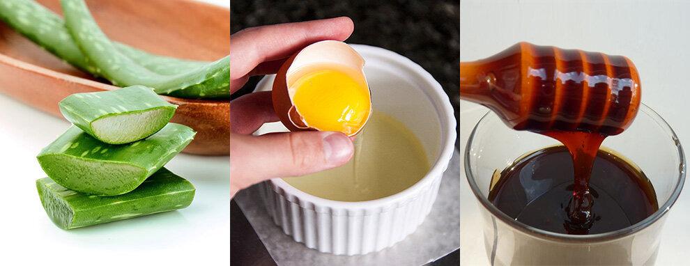 Маска с яйцом алоэ и медом для волос